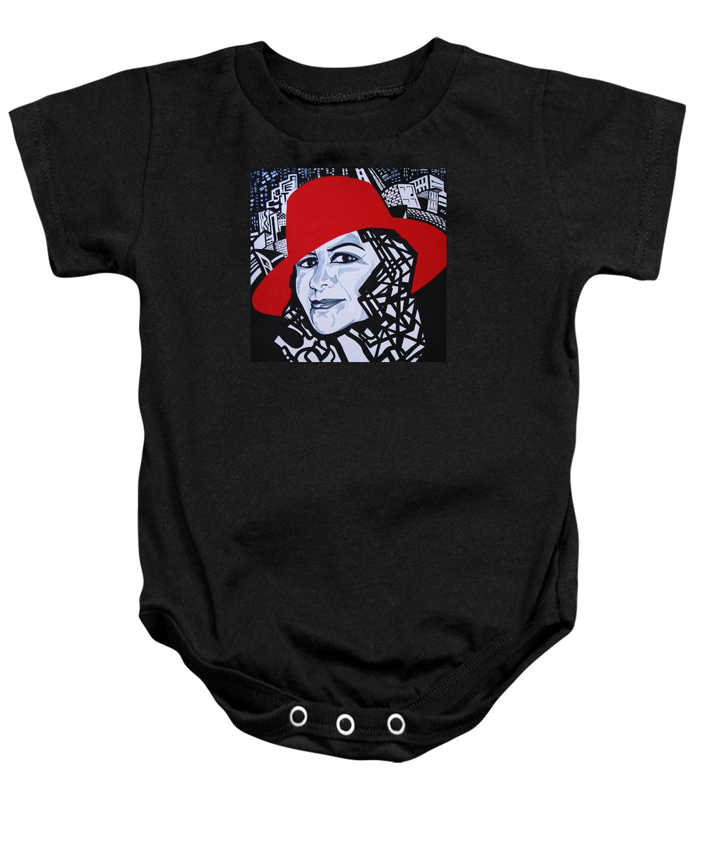 Glafira Rosales Baby Onesie featuring the painting Glafira Rosales In The Red Hat by Yelena Tylkina