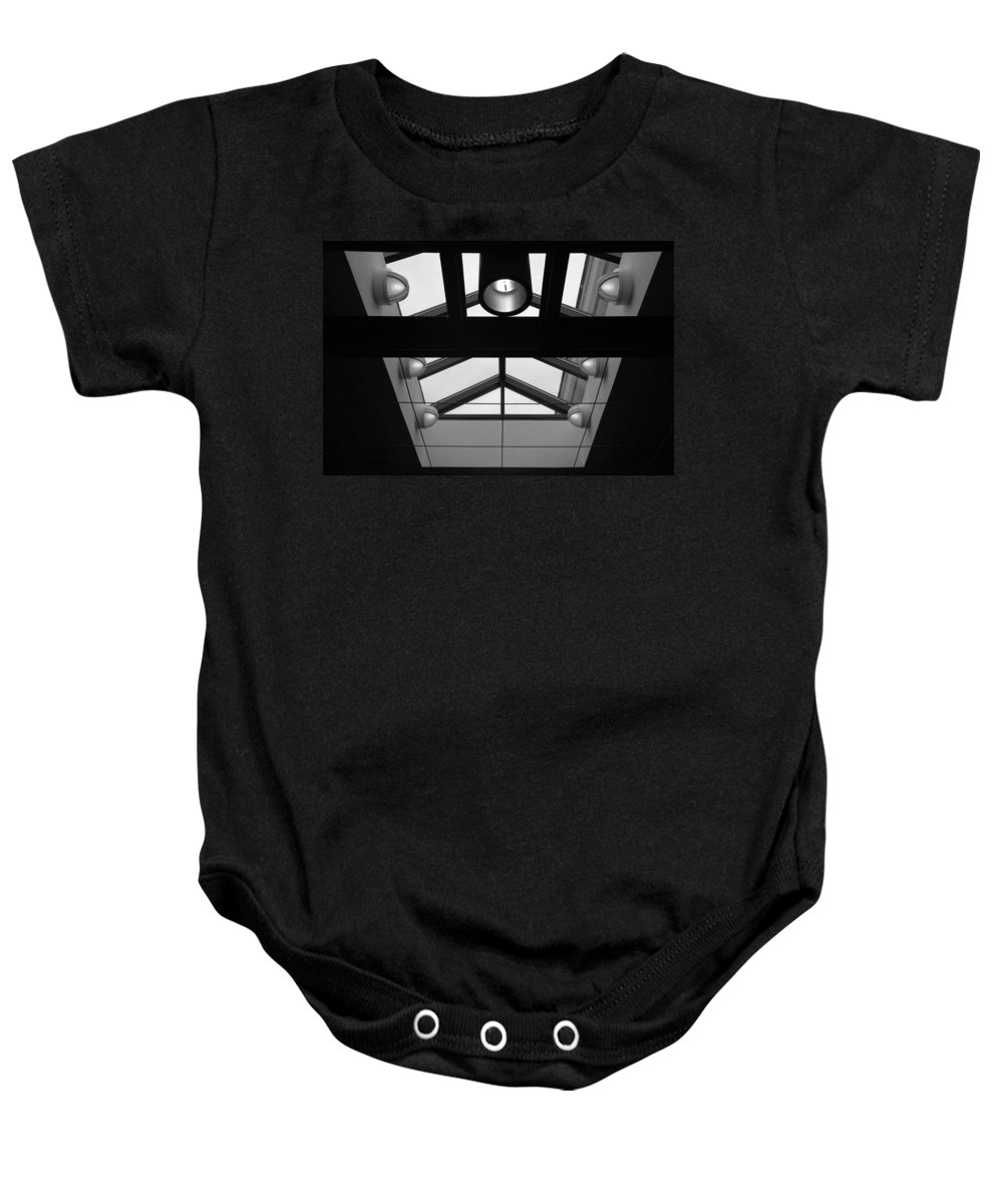 Black And White Baby Onesie featuring the photograph Glass Sky Lights by Rob Hans