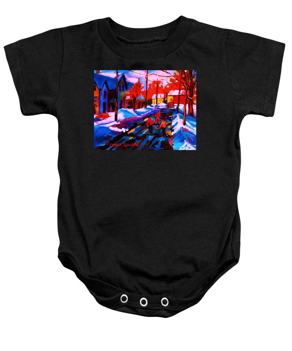Streethockey Baby Onesie featuring the painting Glorious Day For A Game by Carole Spandau