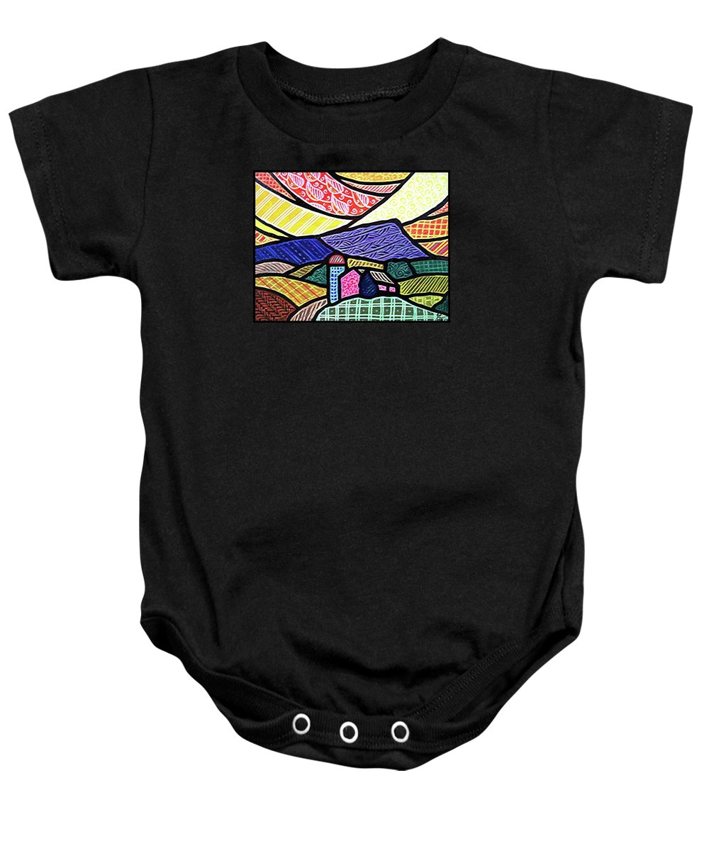 Quilts Baby Onesie featuring the painting Glorious Sunrise by Jim Harris