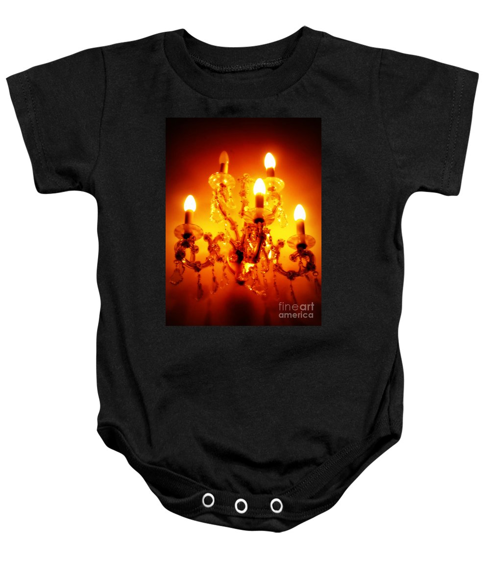 Chandelier Baby Onesie featuring the photograph Glowing Chandelier by Carol Groenen