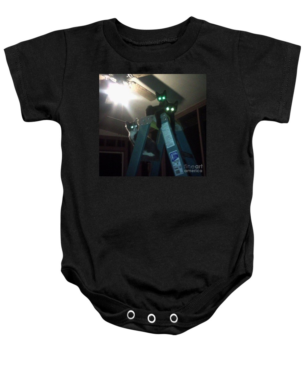 Kittens Baby Onesie featuring the photograph Glowing Eyes by Donna Brown