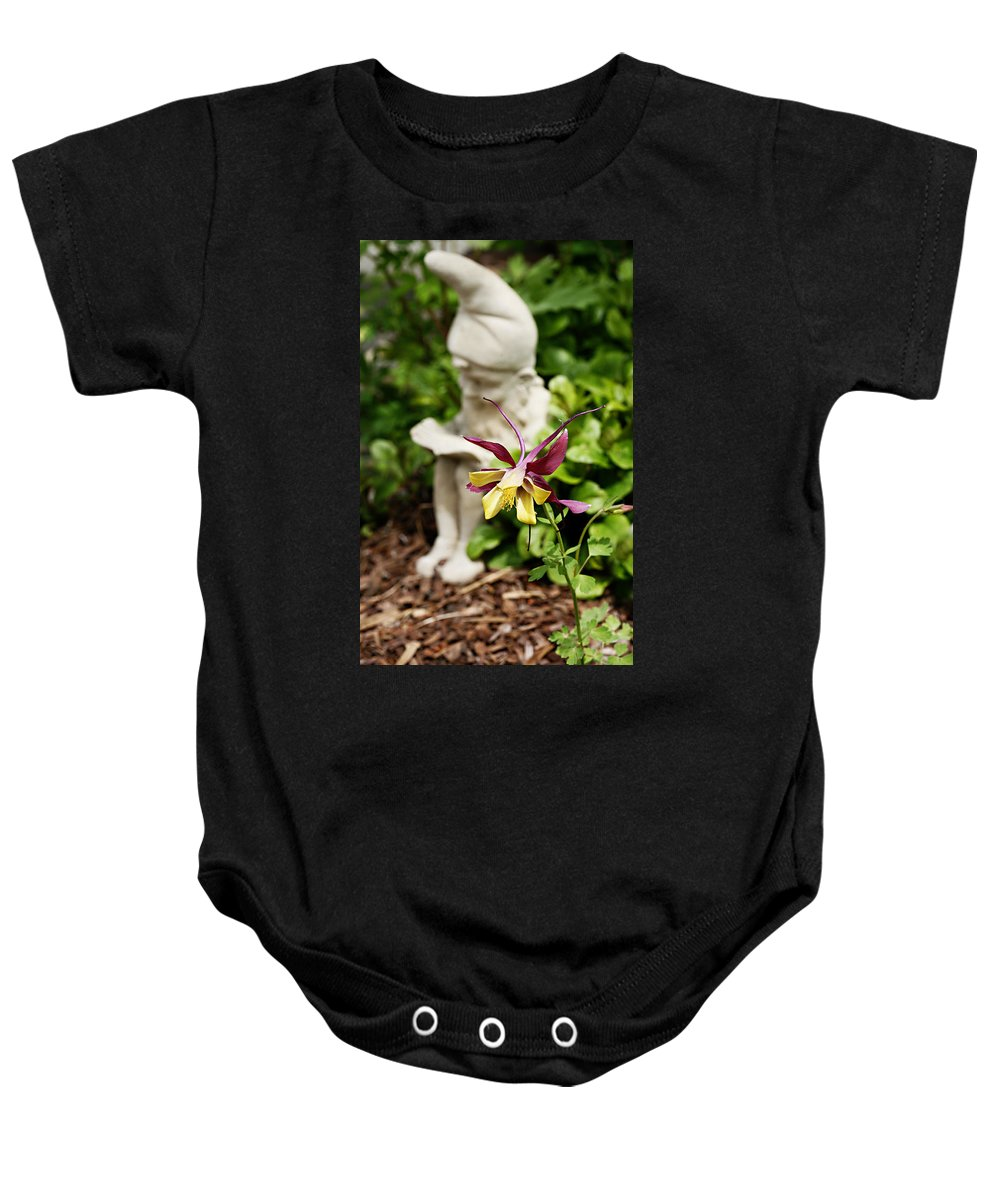 Flower Baby Onesie featuring the photograph Gnome And Columbine by Marilyn Hunt