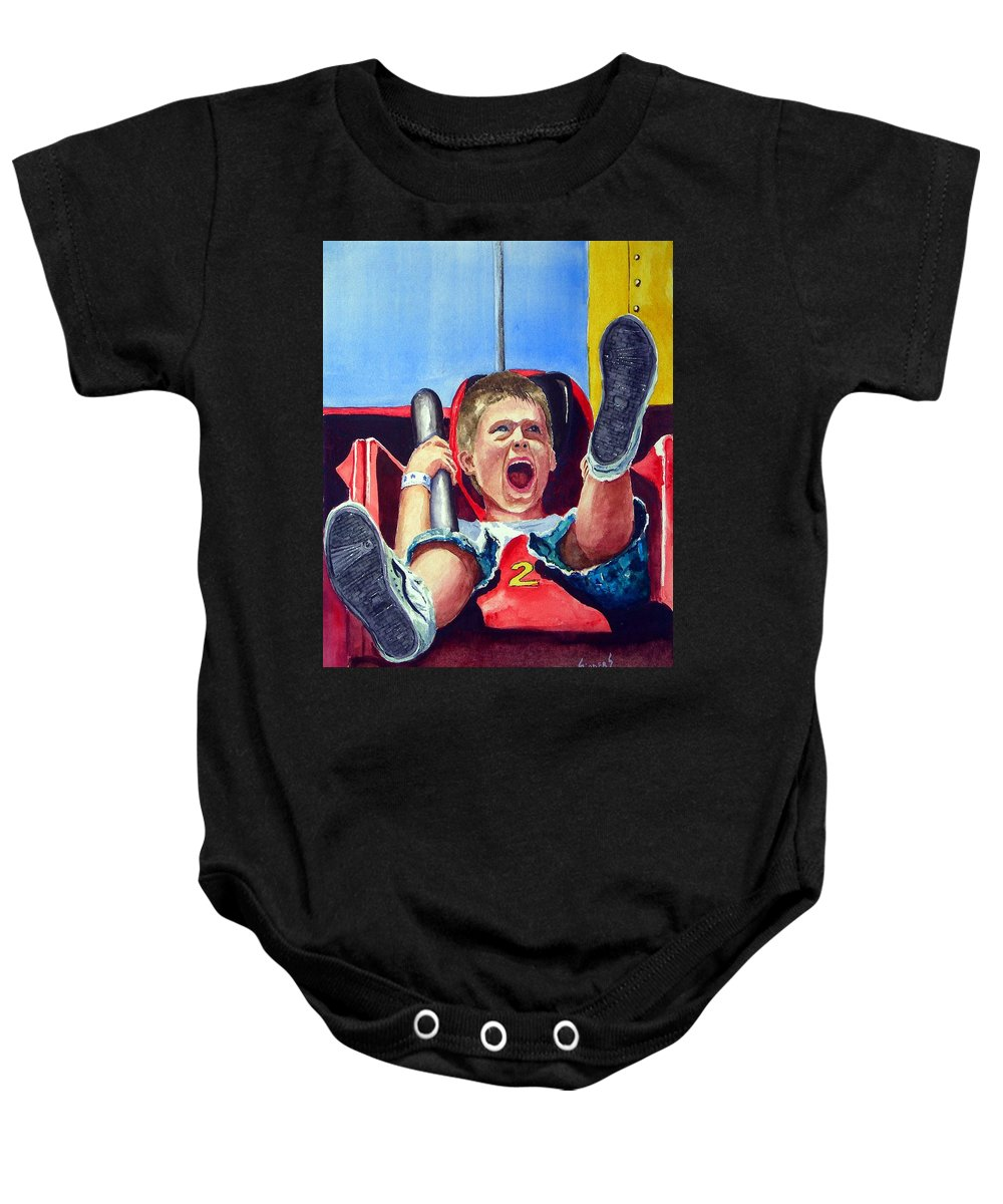 Boy Baby Onesie featuring the painting Goin' Down by Sam Sidders