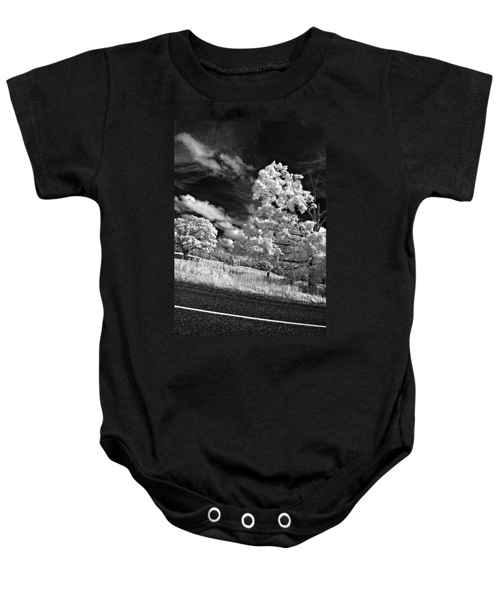 Infrared Baby Onesie featuring the photograph Goin' Down The Road by Steve Harrington