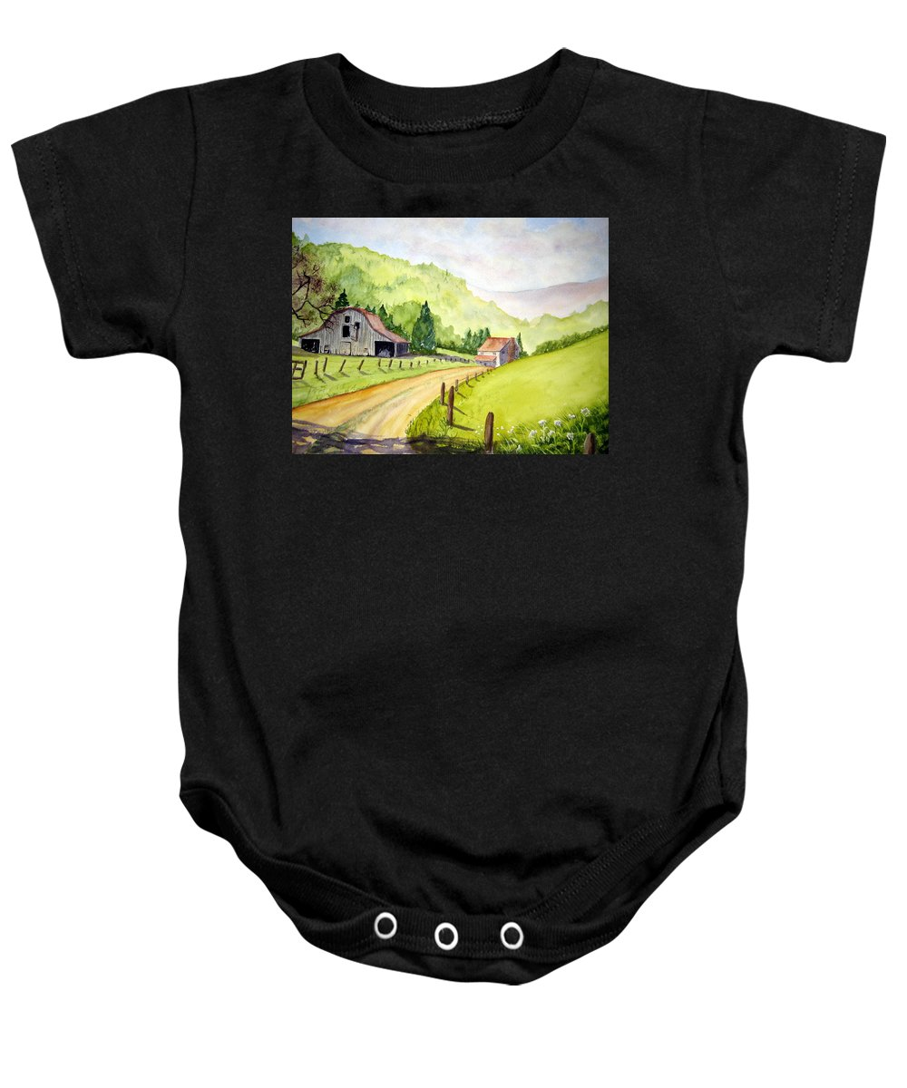 Barns Baby Onesie featuring the painting Going Home by Julia RIETZ