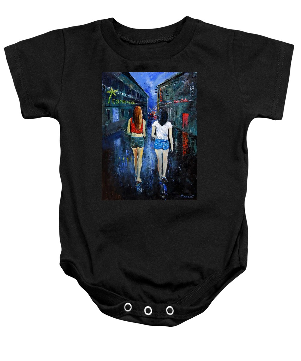 Girl Baby Onesie featuring the painting Going Out Tonight by Pol Ledent
