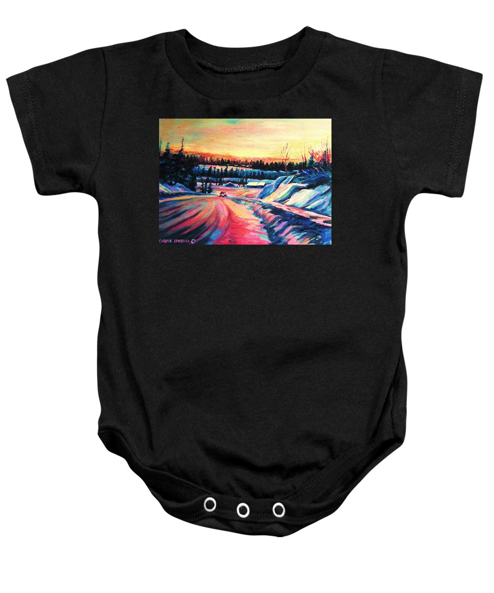 Winterscene Baby Onesie featuring the painting Going Places by Carole Spandau