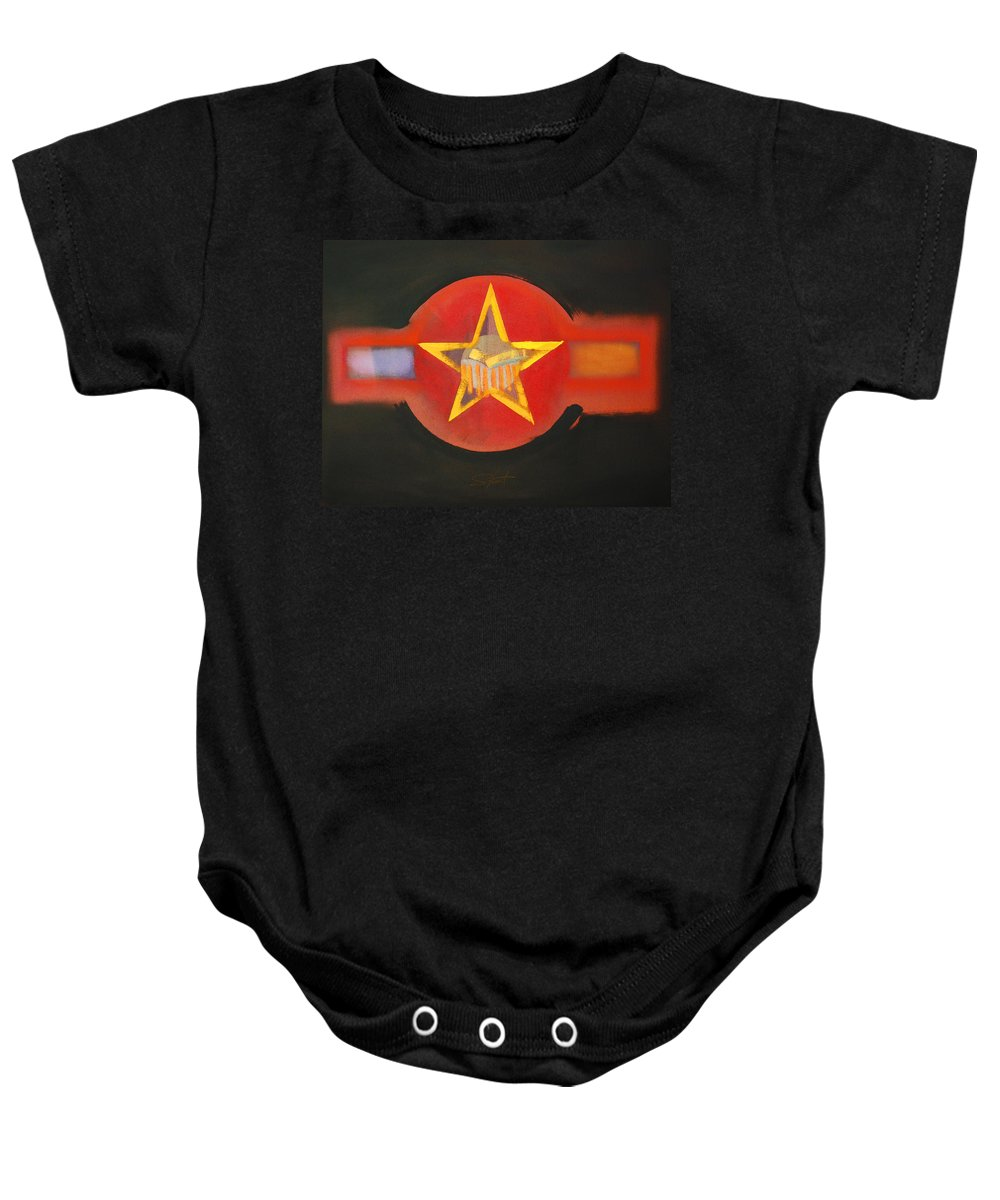 Usaaf Baby Onesie featuring the painting Gold On Heat by Charles Stuart
