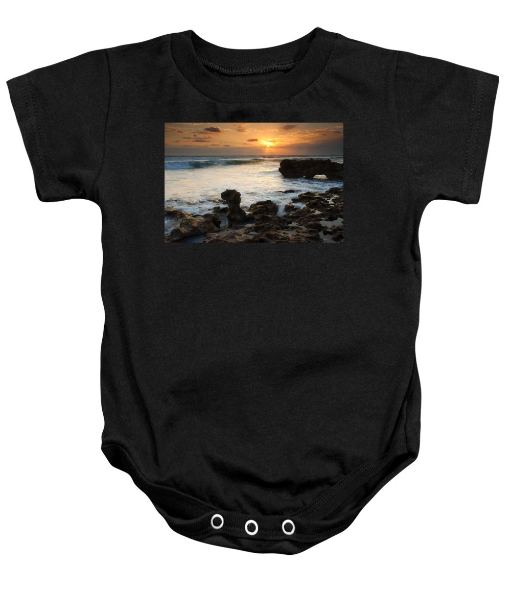 Sunrise Baby Onesie featuring the photograph Golden Arch by Mike Dawson