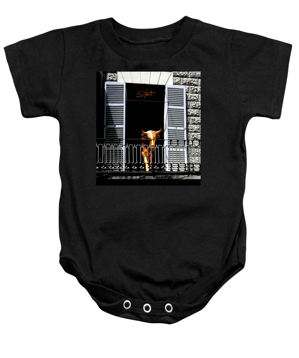 Bull Baby Onesie featuring the photograph Golden Bull by Charles Stuart