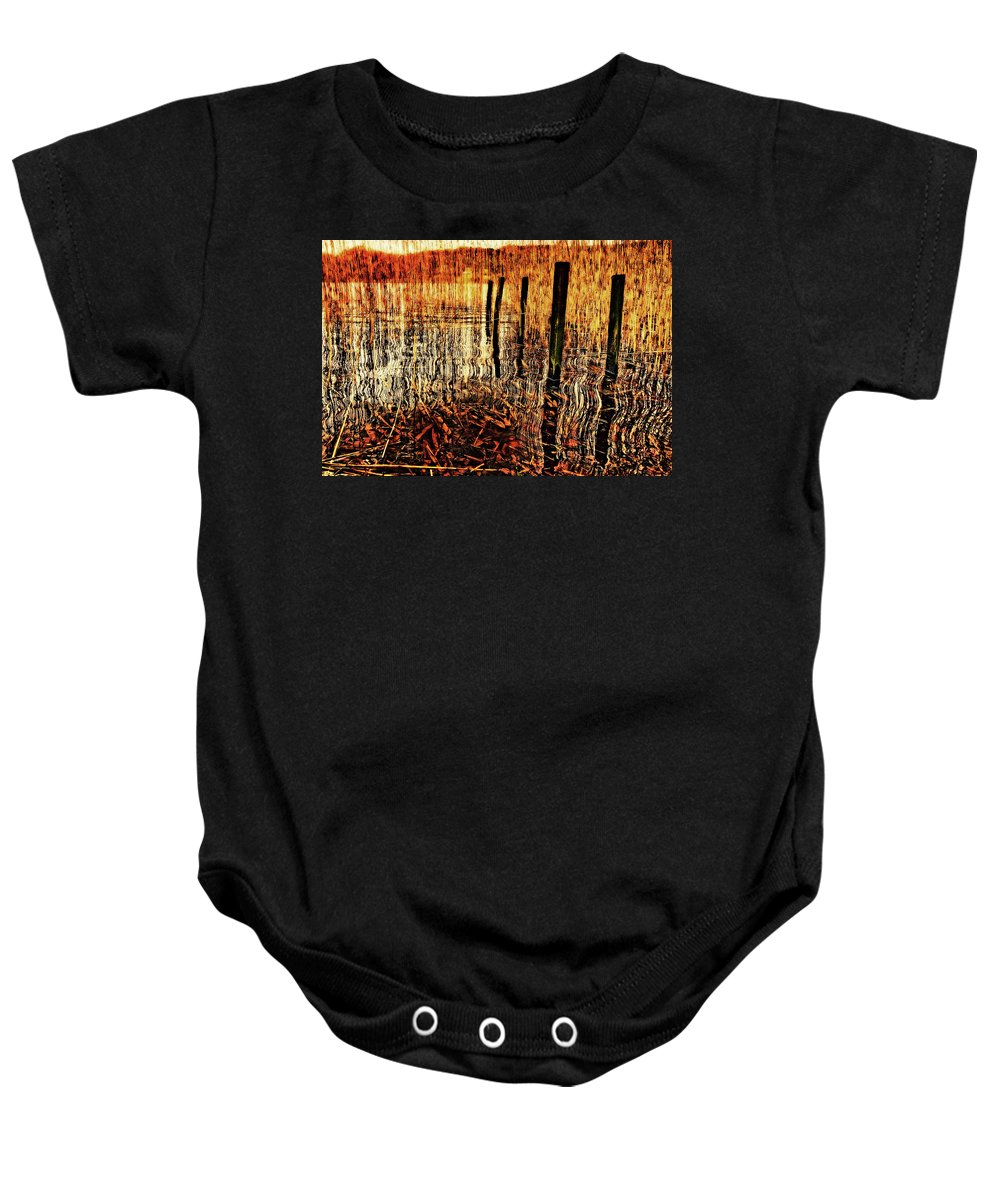 Jetty Baby Onesie featuring the photograph Golden Decay by Meirion Matthias