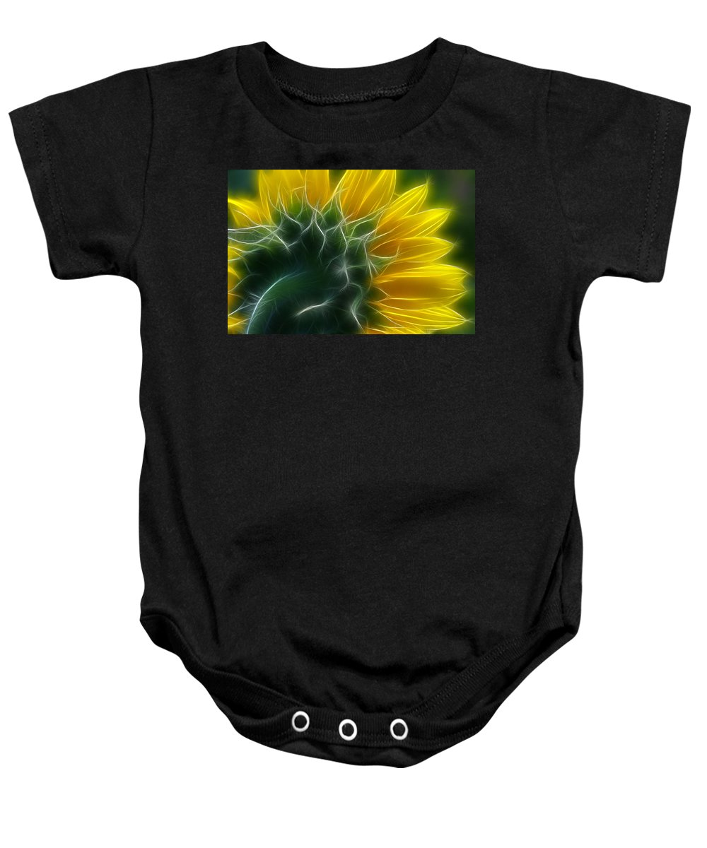 Fractalius Baby Onesie featuring the photograph Golden Delight by Deborah Benoit