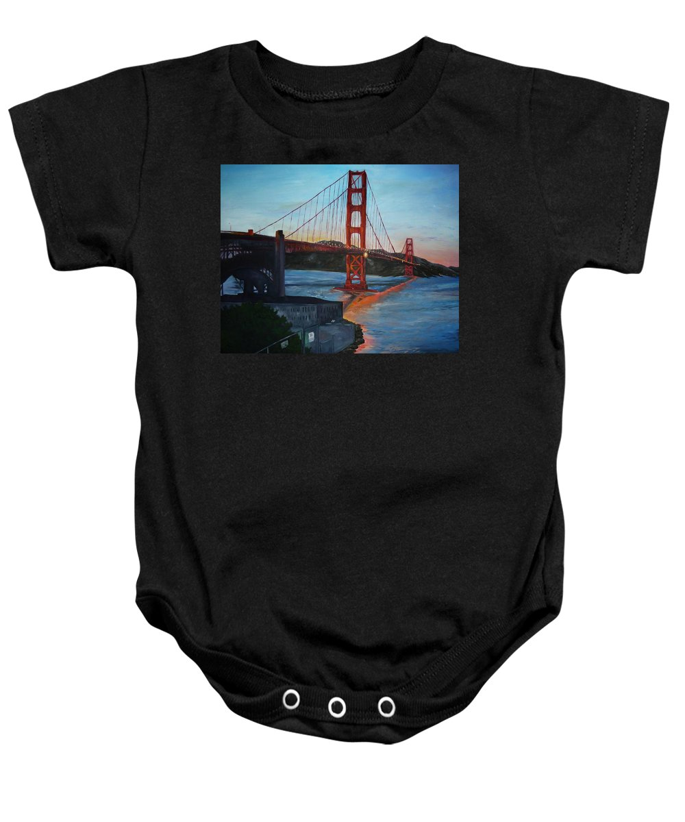 San Francisco Baby Onesie featuring the painting Golden Gate by Travis Day