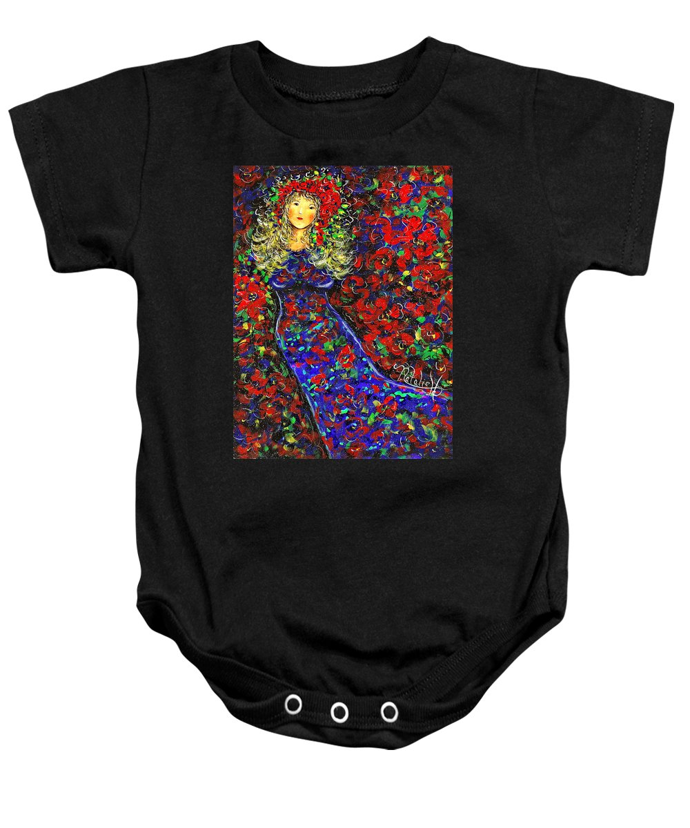 Woman Baby Onesie featuring the painting Golden Girl by Natalie Holland