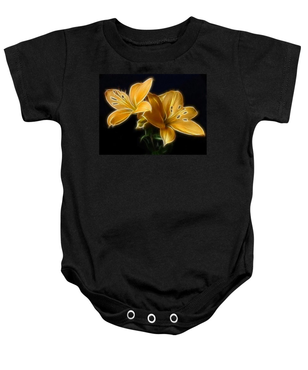 Lilies Baby Onesie featuring the digital art Golden Lilies by Sandy Keeton