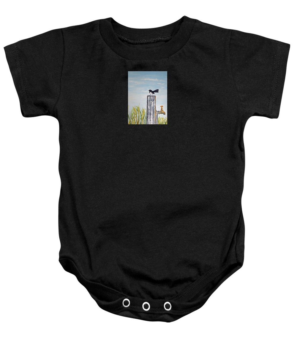 Bird Small Baby Onesie featuring the painting Golden Morning by Elvira Ingram