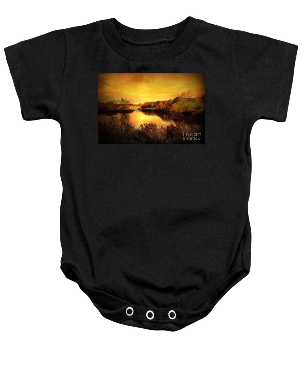 Pond Baby Onesie featuring the photograph Golden Pond by Jacky Gerritsen