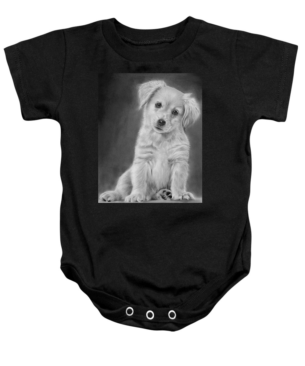 Golden Baby Onesie featuring the drawing Golden Retriever Puppy Drawing by John Harding