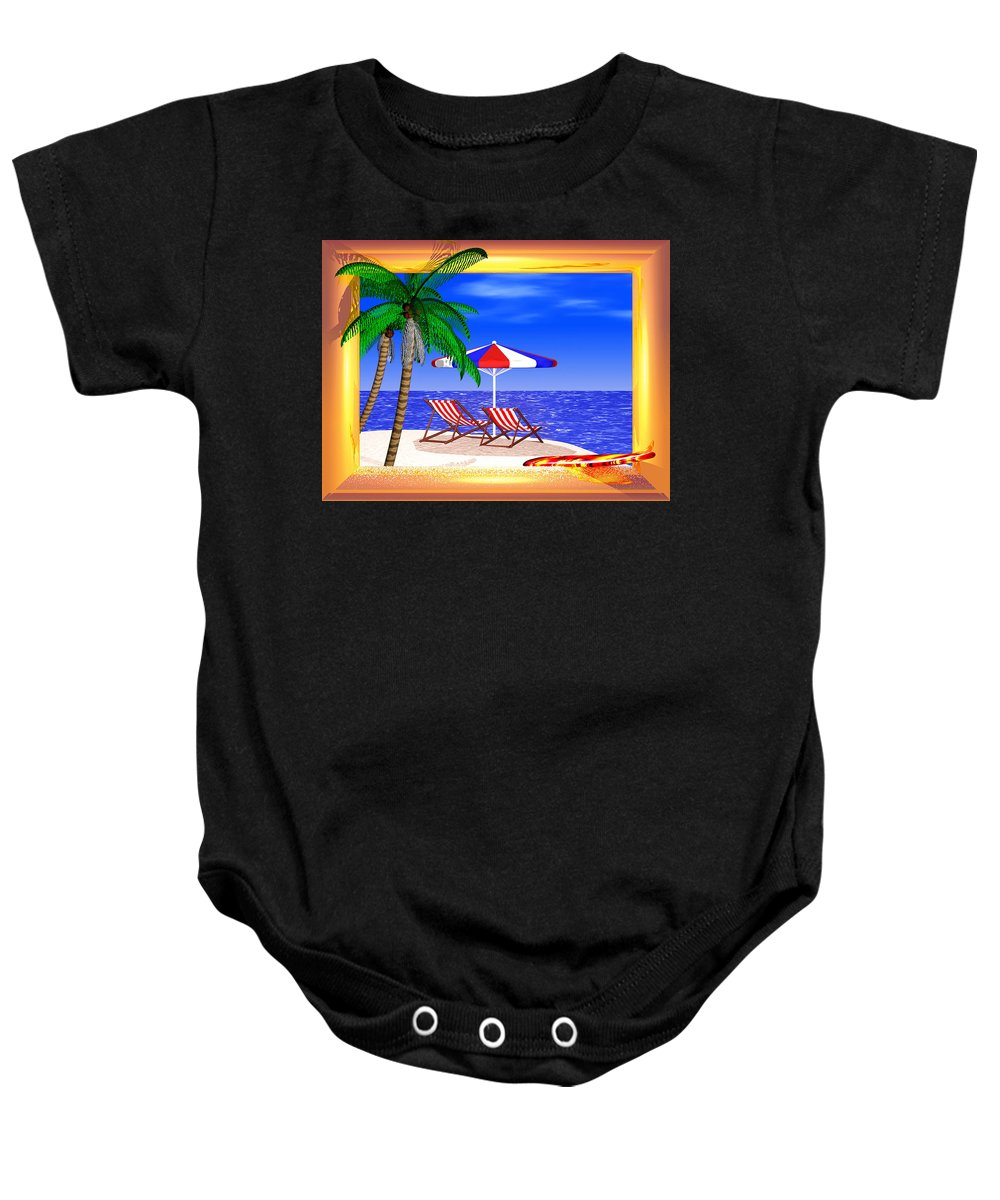 Summer Baby Onesie featuring the digital art Golden Summer by Andreas Thust