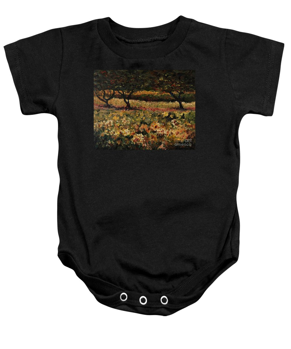 Landscape Baby Onesie featuring the painting Golden Sunflowers by Nadine Rippelmeyer