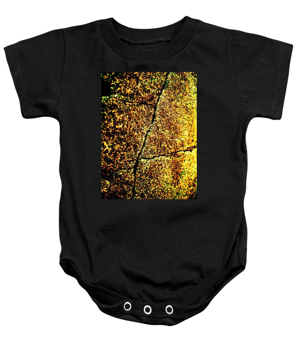 Golden Baby Onesie featuring the photograph Golden Texture Abstract by Eric Schiabor