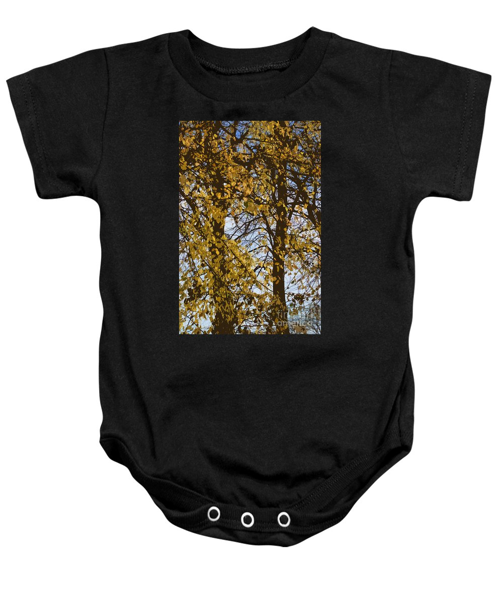 Autumn Baby Onesie featuring the photograph Golden Tree 2 by Carol Lynch