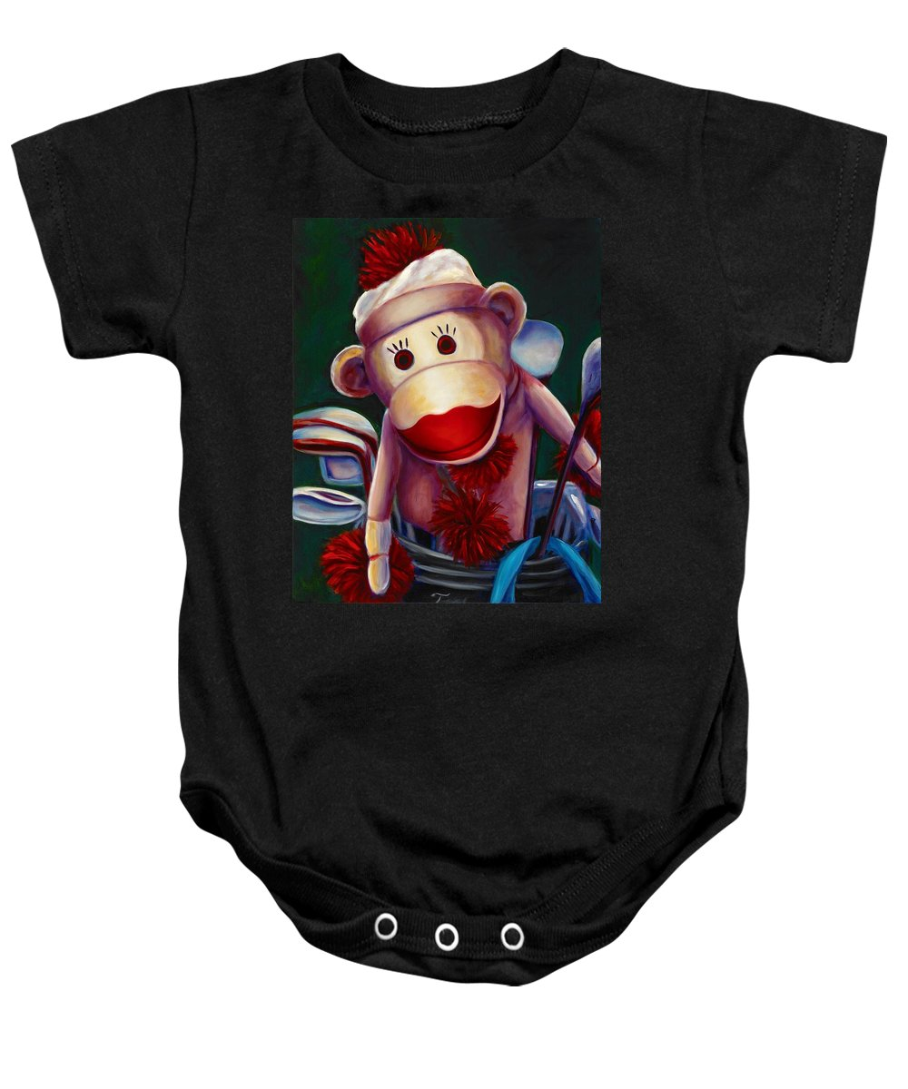 Monkey Baby Onesie featuring the painting Golfer Made Of Sockies by Shannon Grissom