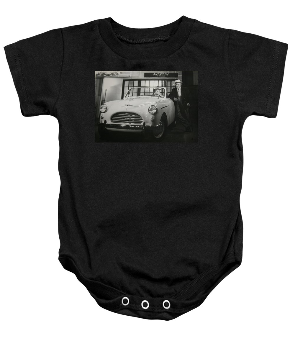 Men Man Classic Car Austin Car Show Black And White Photograph Baby Onesie featuring the photograph Good Fellas by Andrea Lawrence
