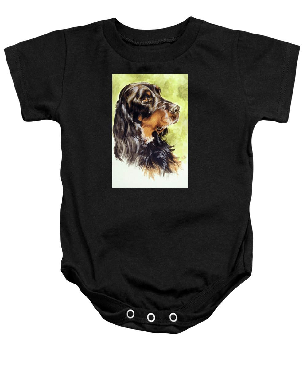 Sporting Group Baby Onesie featuring the painting Gordon Setter by Barbara Keith