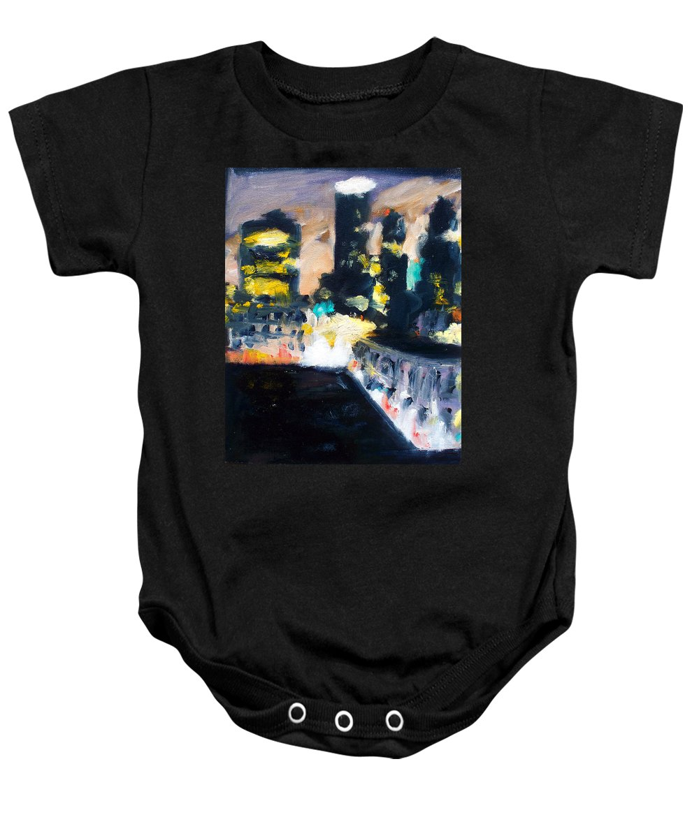 Des Moines Baby Onesie featuring the painting Gotham by Robert Reeves