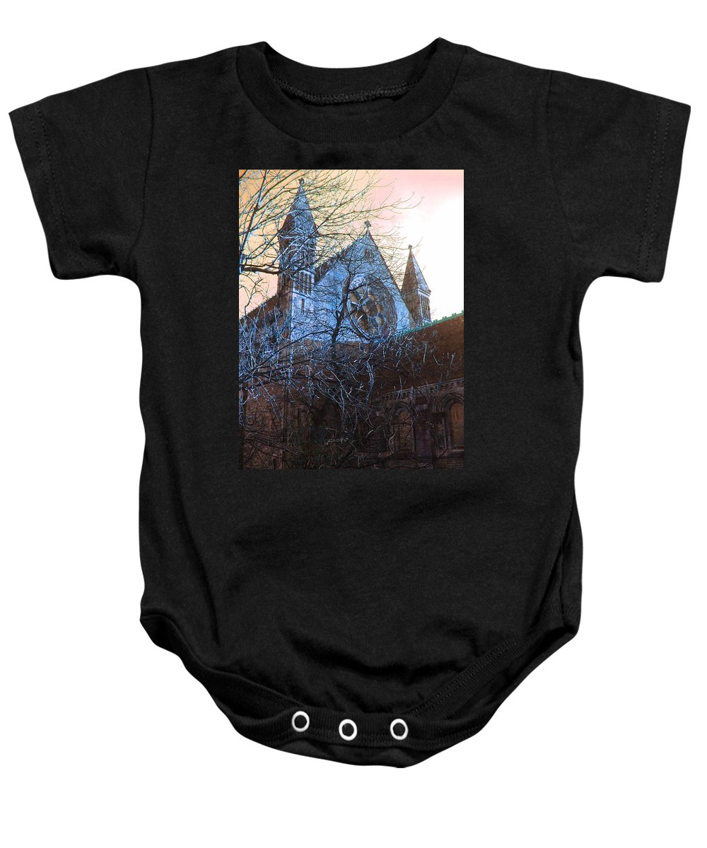 Scotland Baby Onesie featuring the photograph Gothic Church by Heather Lennox