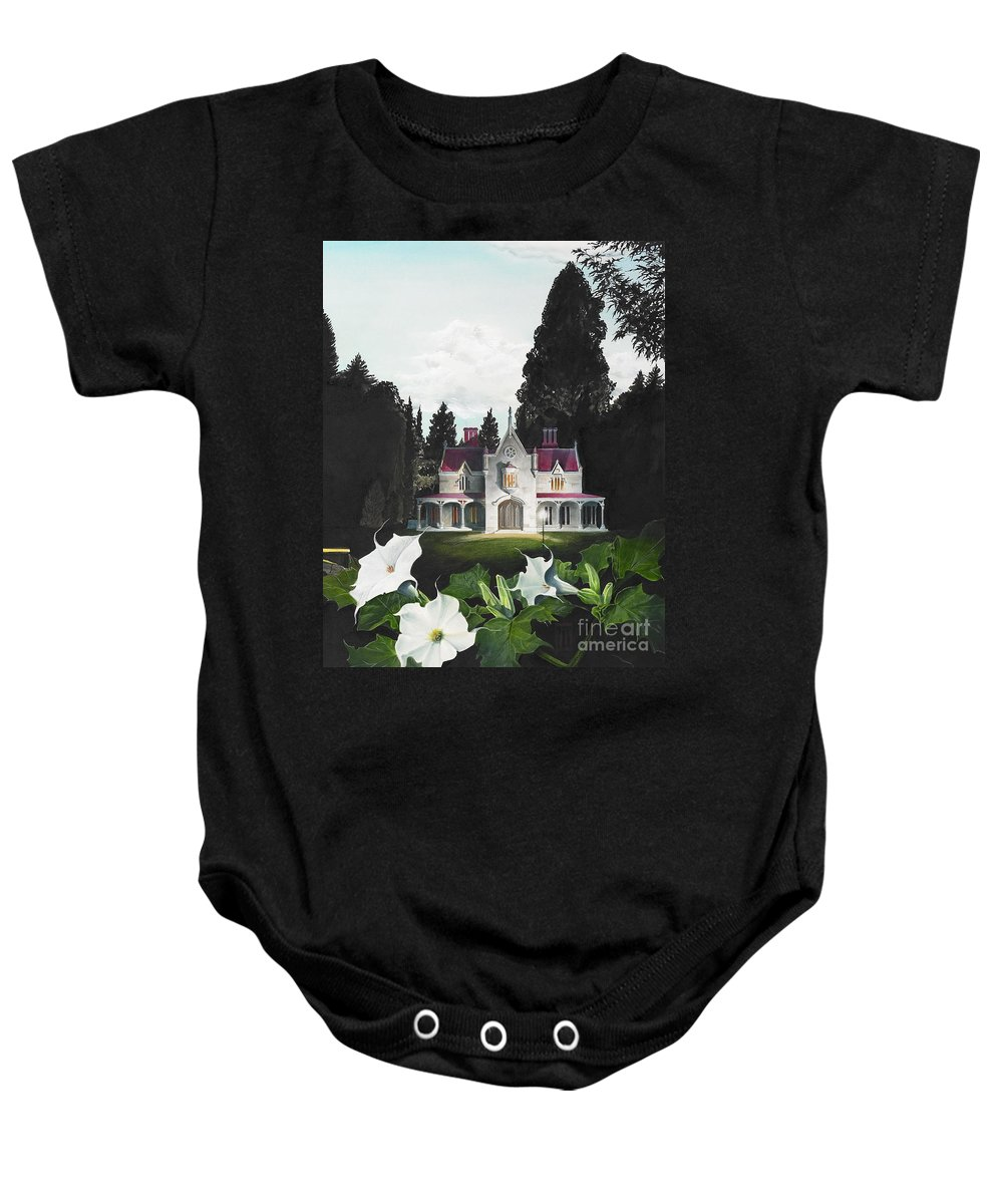 Fantasy Baby Onesie featuring the painting Gothic Country House Detail From Night Bridge by Melissa A Benson