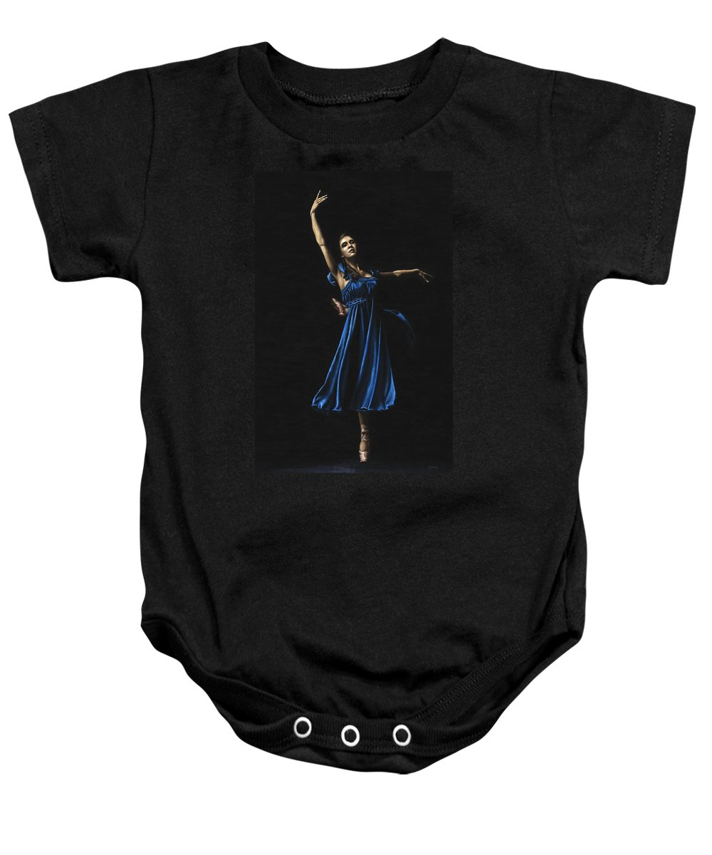 Graceful Baby Onesie featuring the painting Graceful Dancer In Blue by Richard Young