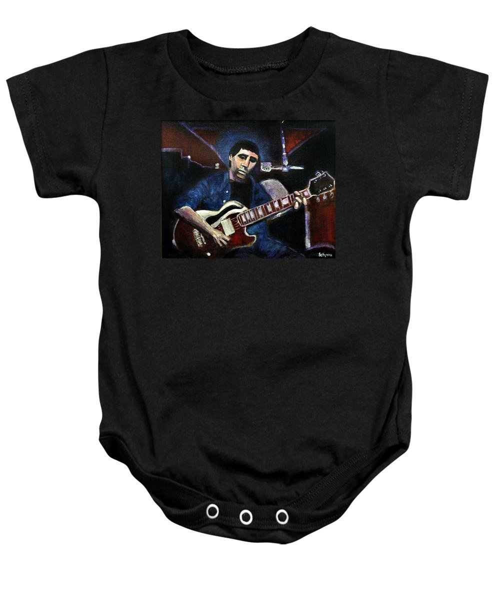 Shining Guitar Baby Onesie featuring the painting Graceland Tribute To Paul Simon by Seth Weaver