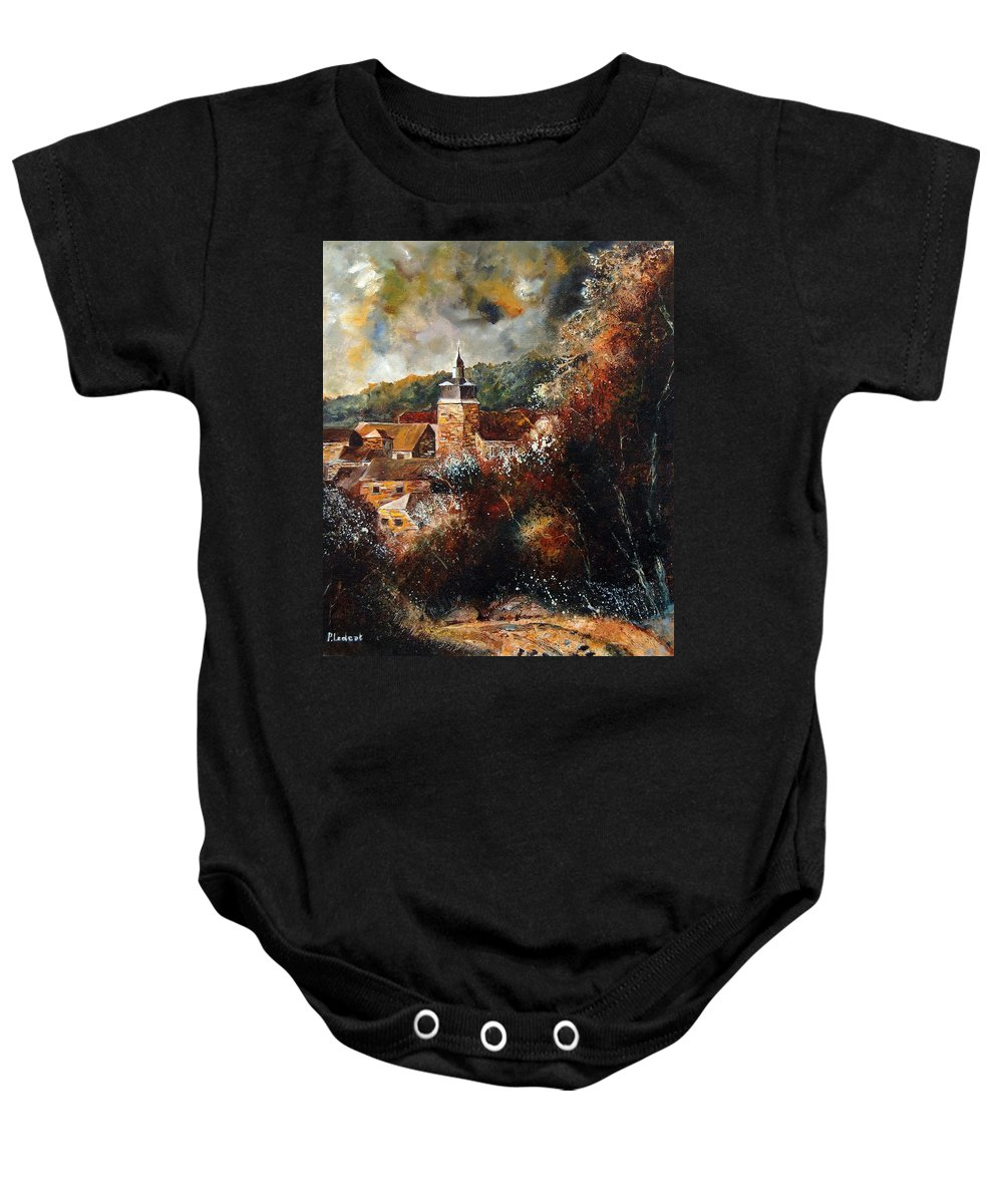 Village Baby Onesie featuring the painting Graide Village Belgium by Pol Ledent