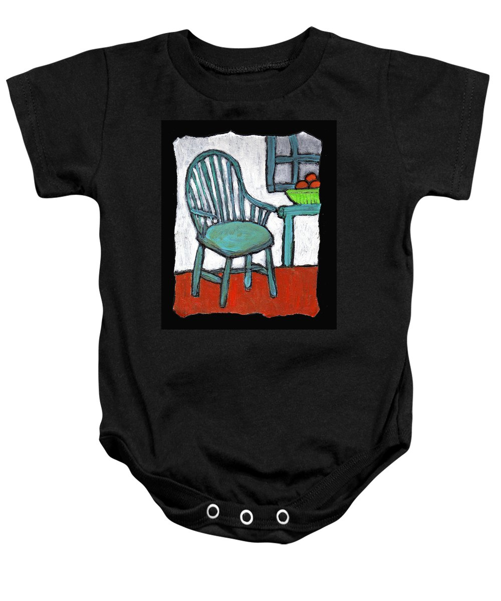 Chair Baby Onesie featuring the painting Grampa's Empty Chair by Wayne Potrafka