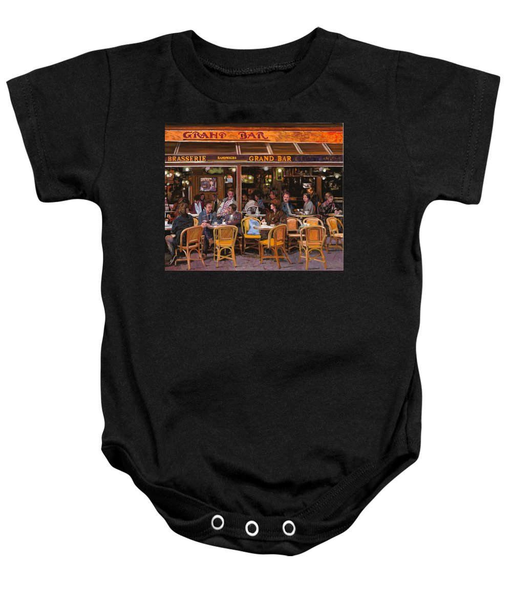 Brasserie Baby Onesie featuring the painting Grand Bar by Guido Borelli