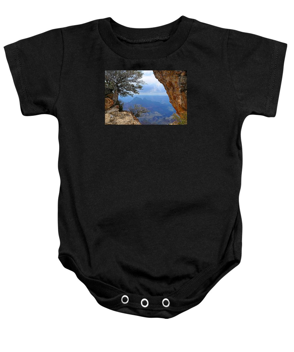 Grand Canyon North Rim Baby Onesie featuring the photograph Grand Canyon North Rim Window in the Rock by Victoria Oldham