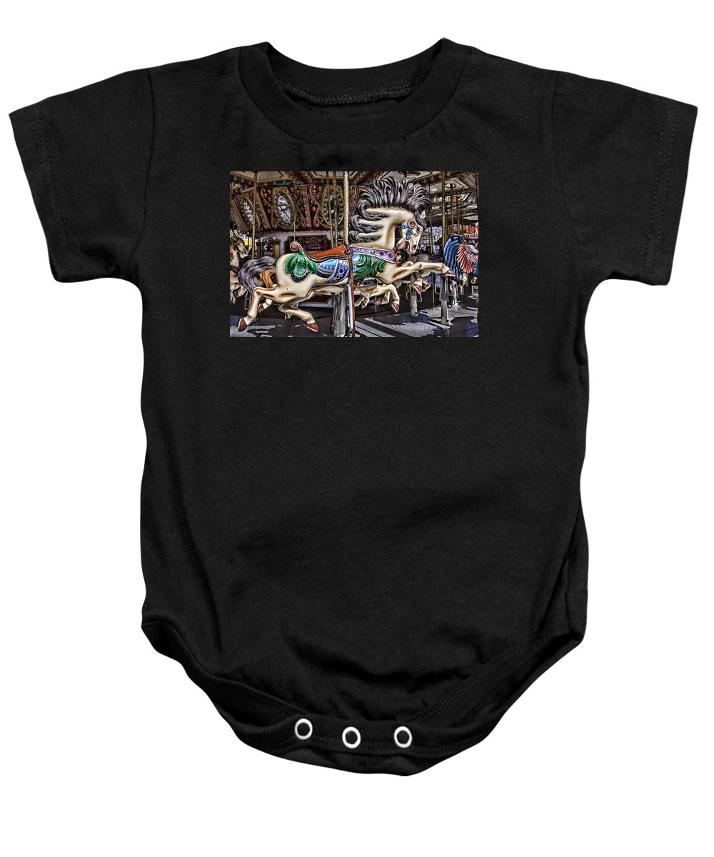 Wild Carrousel Horses Baby Onesie featuring the photograph Grand Carousel Hourse by Garry Gay