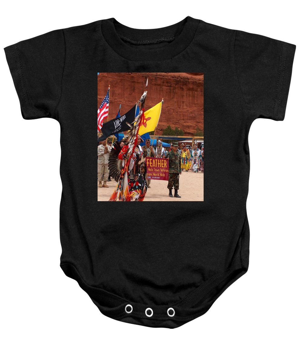Pow-wow Baby Onesie featuring the photograph Grand Entry At Star Feather Pow-wow by Tim McCarthy