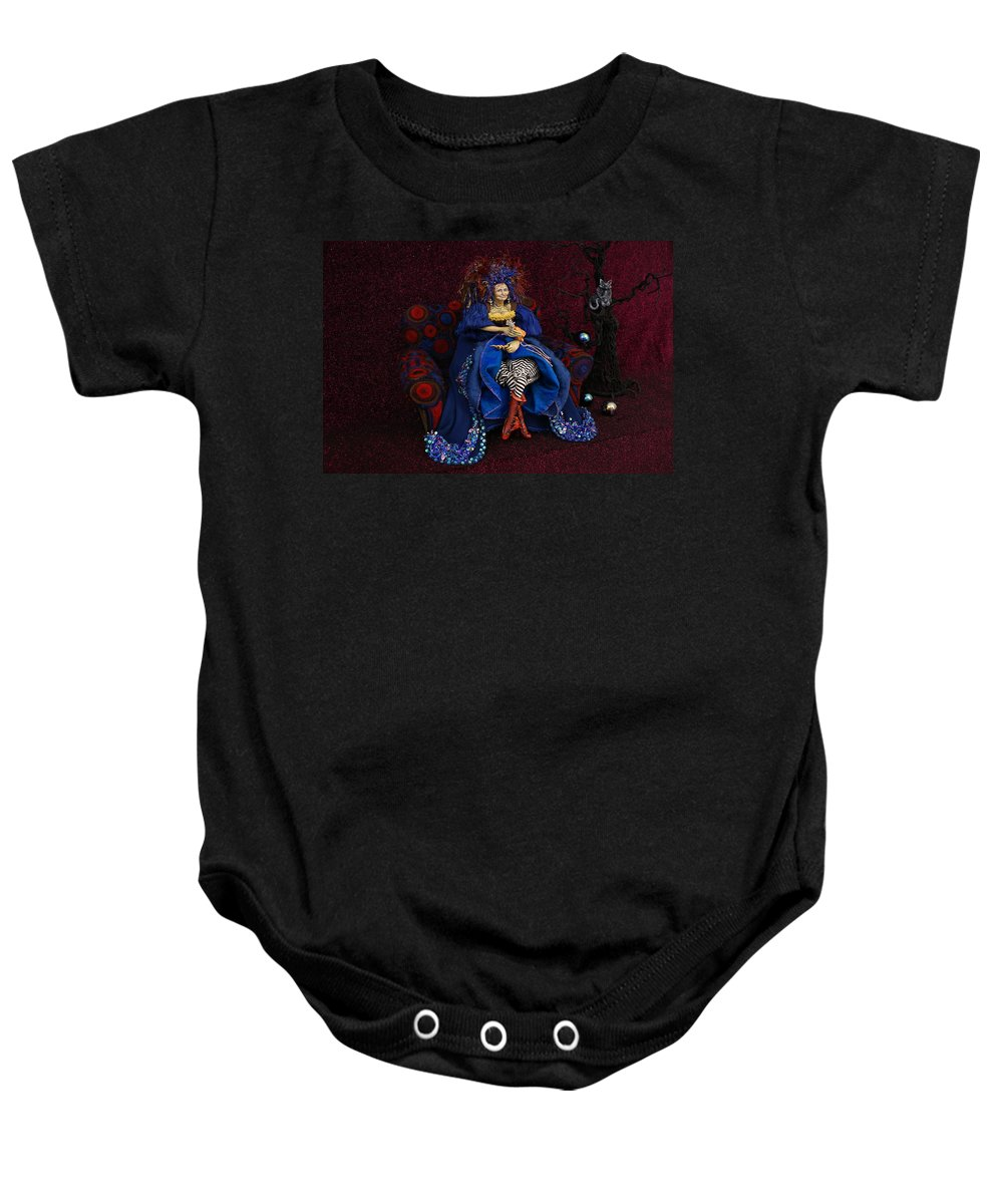 Grandmother Witch Doll Baby Onesie featuring the mixed media Grandmother Witch by Judy Henninger