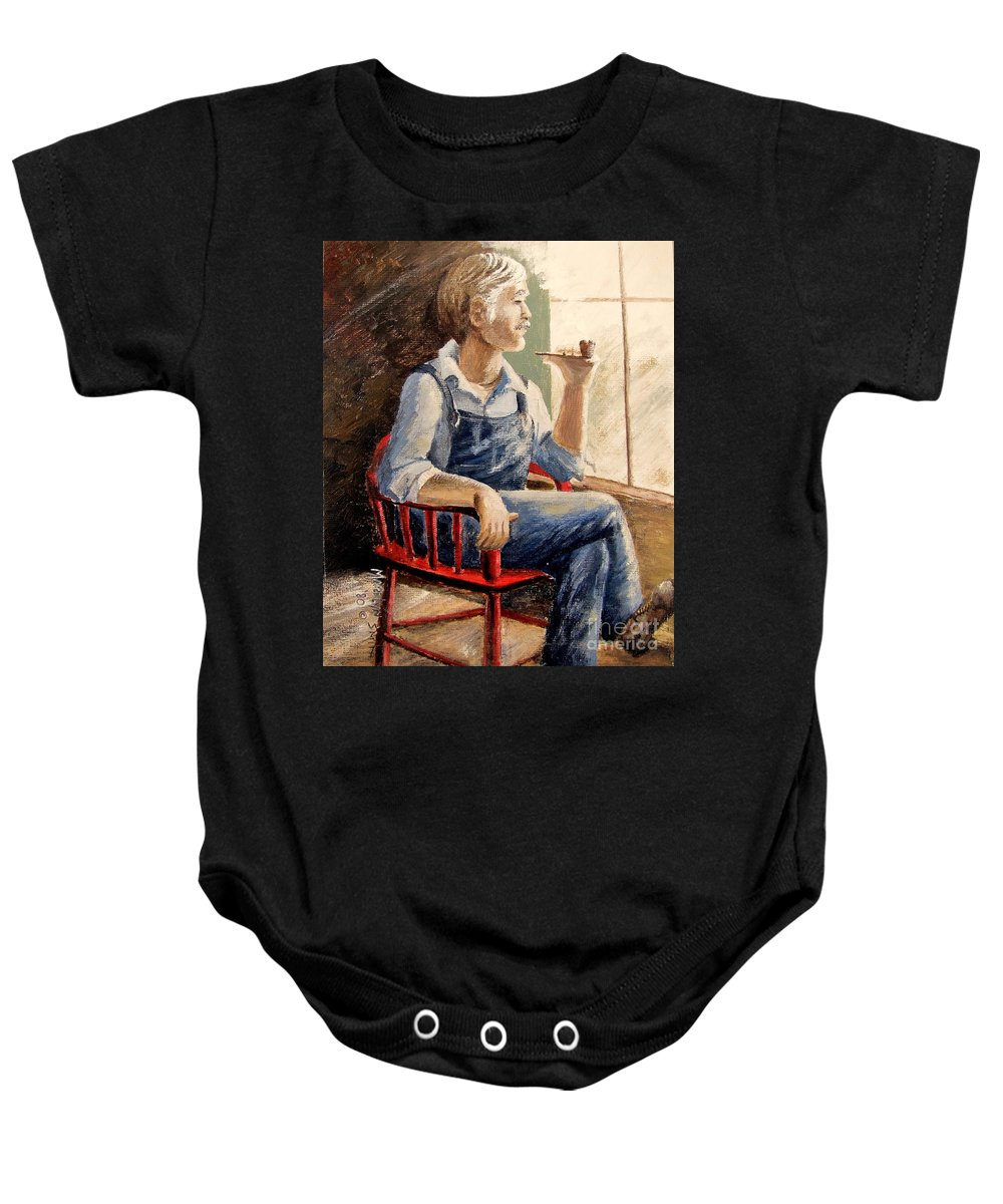 Red Chair Baby Onesie featuring the painting Grandpa by Marilyn Smith