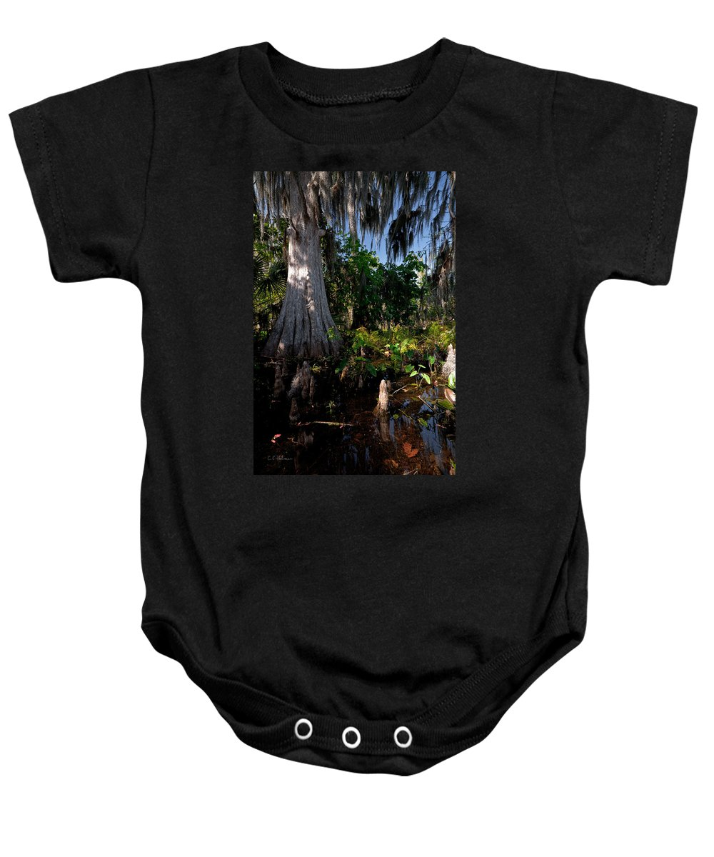 Marsh Baby Onesie featuring the photograph Gray Cypress by Christopher Holmes