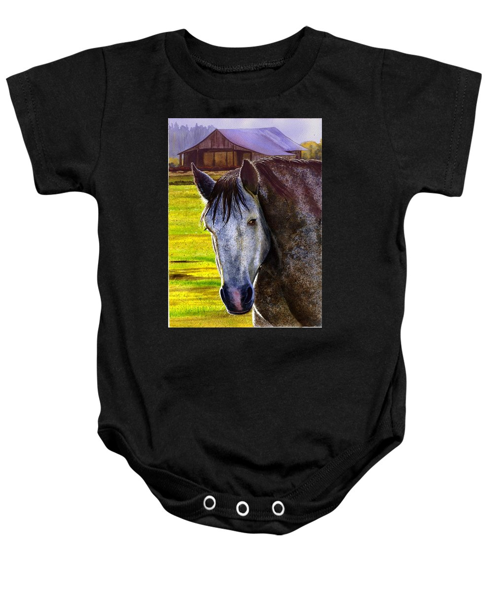 Horse Baby Onesie featuring the painting Gray Horse by Catherine G McElroy