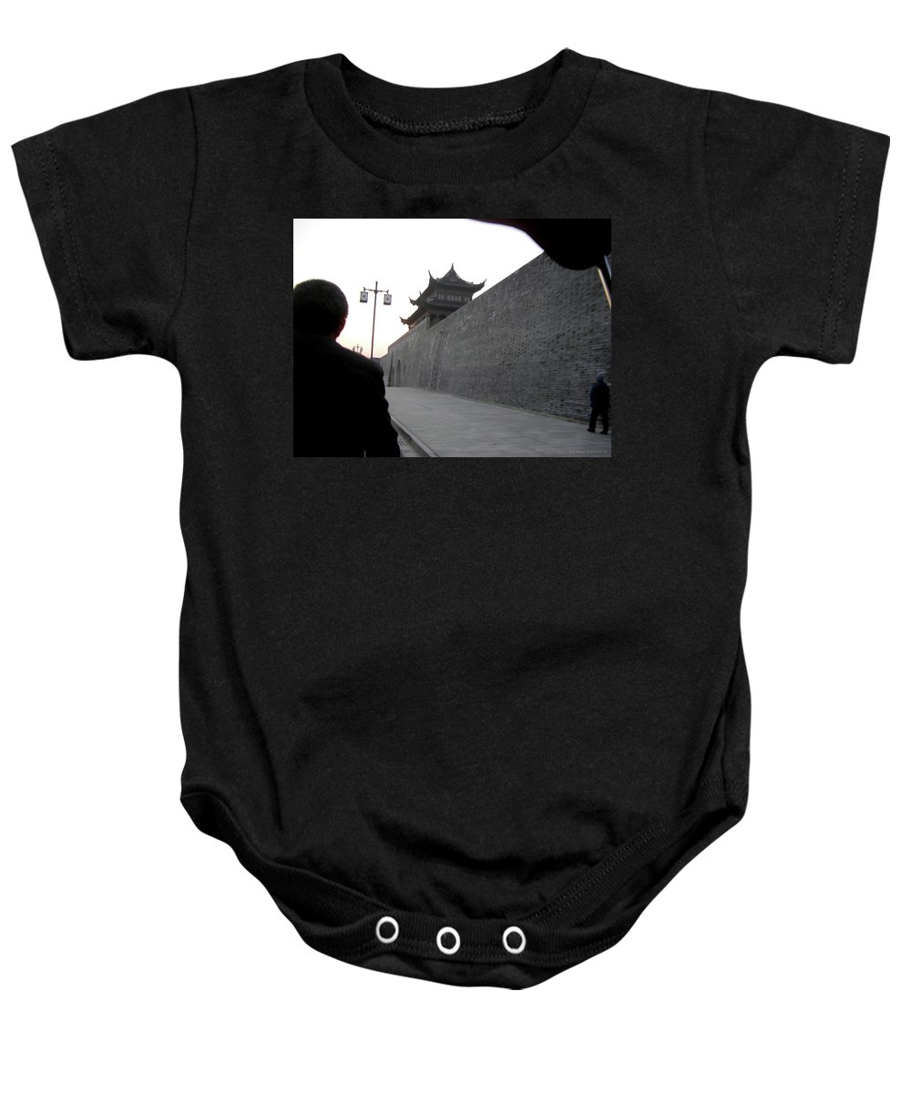 Gray Brick Wall And Sidewalk Baby Onesie featuring the photograph Gray Wall by Joel Yasskin