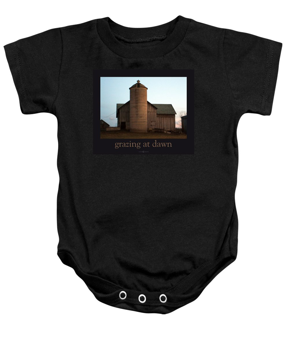 Barn Baby Onesie featuring the photograph Grazing At Dawn by Tim Nyberg