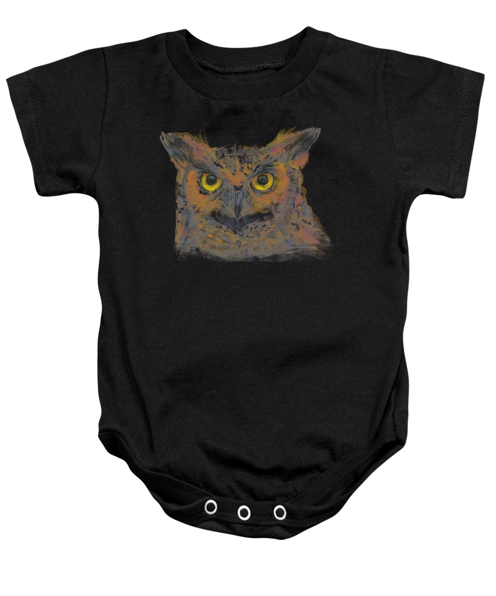 Owl Baby Onesie featuring the painting Great Horned Owl Watercolor by Olga Shvartsur