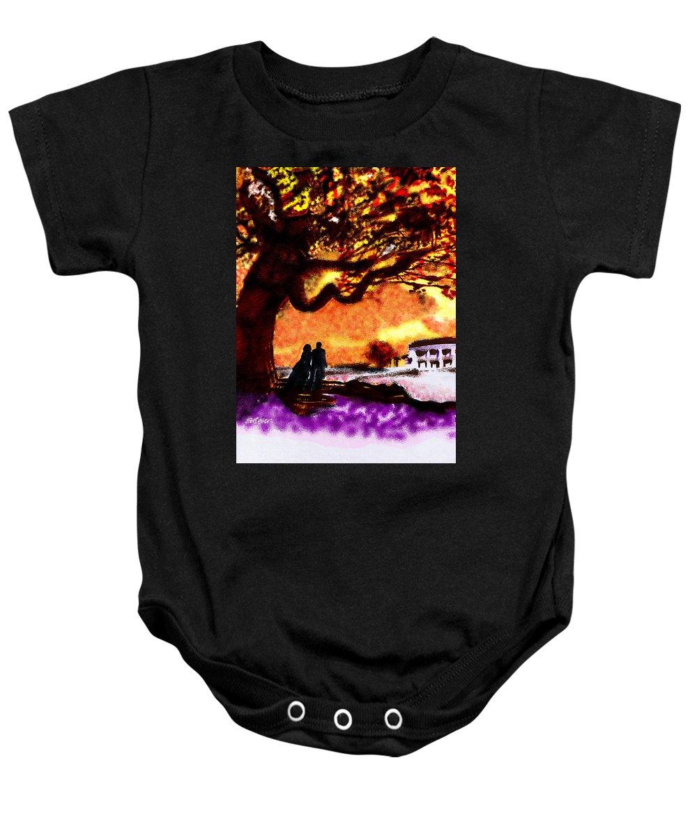 Great Oak Of Tara Baby Onesie featuring the digital art Great Oak Of Tara by Seth Weaver