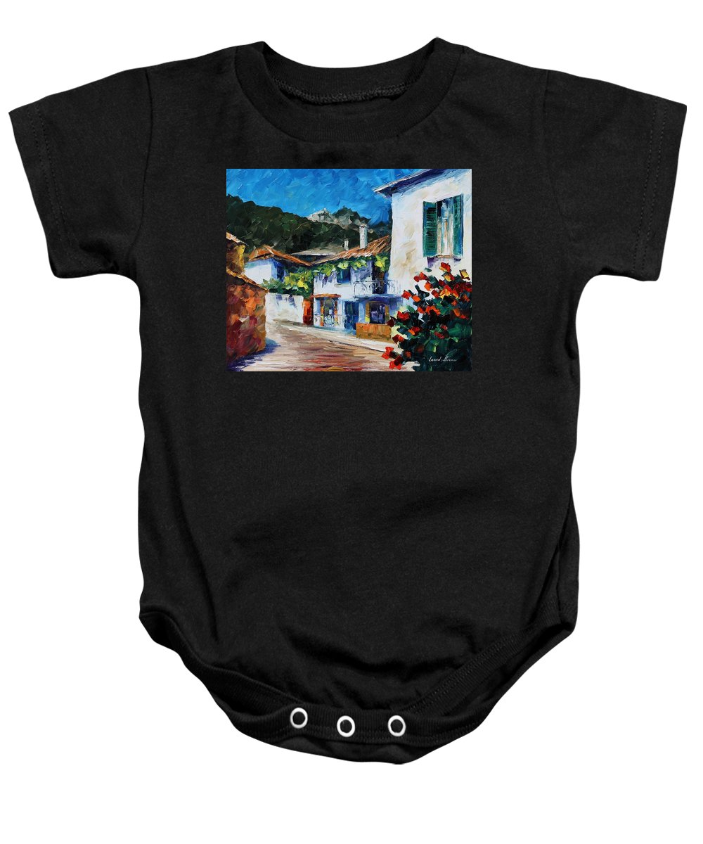 Afremov Baby Onesie featuring the painting Greece New by Leonid Afremov